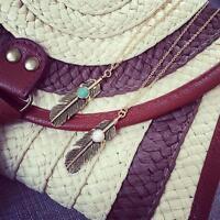 2pcs Women Vintage Alloy Copper Feather Tassels Pendant Necklace Gift