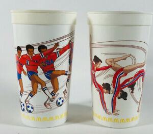 VINTAGE 1988 OLYMPICS MCDONALD'S COMMEMORATIVE SOCCER & GYMNASTICS PLASTIC CUP