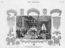 1887 Antique Print - FRANCE Crown Jewels Auction Salle Etats Diamond Tiara (98)