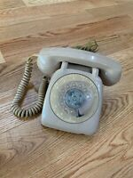 1960s Vintage Desk Phone Rotary Dial Automatic Electric Telephone - Beige/Tan