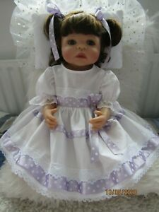 """HANDMADE BABY 3-6MTHS or Reborn 22"""" COTTON DRESS LILAC AND WHITE NEW"""
