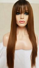 Light Brown Human Hair Wig Lace Front Fringe Long Bangs