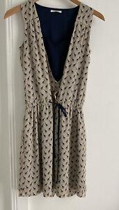Promod sleeveless Beige & Black Giraffe Design dress. Gathered Waist Size 8