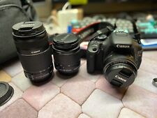 Canon EOS Rebel T3i bundle w/ 3 lenses, strap, battery, charger, and bag