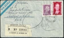 1170 Argentina To Chile Registered Air Mail Cover 1953 Evita Stamps
