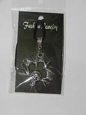 Large Skull And Wings Tibetan Silver Pendant on Black Genuine Leather Necklace
