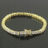 7 CTW Round Diamond Prong Set Beautiful Tennis Bracelet  14Kt Yellow Gold Finish