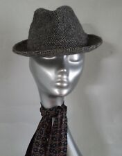 HARRIIS TWEED HERRINGBONE GREY WOOL TRILBY HAT