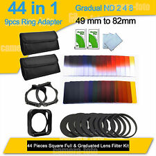 44 in1 ND8 Gradual ND2 4 8 Filter Set + 9pcs Ring AdapteR 49 to 82mm for Cokin P