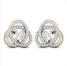 2.48 Ct Near White Round Cut Moissanite 14K Yellow Gold Screw Back Earring