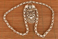 big tibet miao silver hand carved cool lion head statue fashion pendant necklace