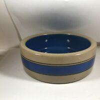 "Vintage Glazed Pottery Blue Band Pet Dish 7-1/2"" x 2-1/2"""