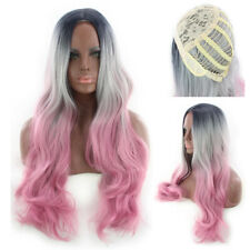 Realistic Fashion Women Synthetic Slanted Bangs Long Waves Hair Gray Pink Wigs