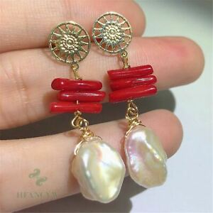 14-15mm Natural Baroque Freshwater Pearl Earrings Real Classic Pendant Luxury