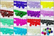 Glasperlen 4/6/8/10mm rund 50/100 Stück Qualitäts - Perlen Schmuck basteln, P-1