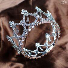 Small Round Tiara Hair Crown Rhinestone Wedding Headpiece Pageant Prom Costumes