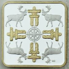 2018 $3 Canadian Coasts: True North Gold-Plated Pure Silver Square-Shaped Coin