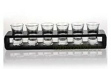 BOXED BRAND NEW 47ML 6 SHOT GLASSES 7-PIECE VODKA SET WITH WOODEN RACK HOLDER