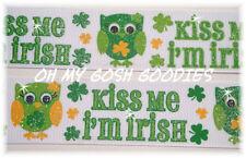 1.5 GLITTER KISS ME I'M IRISH HOOT OWLS ST PADDY GROSGRAIN RIBBON 4 HAIRBOW BOW