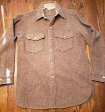 VTG Woolrich Mens Button Front Shirt Jac Wool Brown Medium Large USA