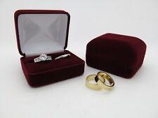 Bride & Groom Luxury Burgundy Velvet Double Wedding Ring Bearer Box