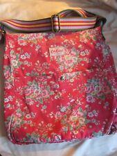 Genuine Cath Kidston Huge Vintage Rose Canvas Messenger Bag Red Crossbody