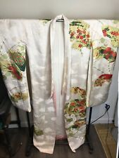 Vintage Uchikake Kimono Wedding Bridal Ceremonial Robe White Pink Floral Flower