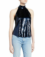 NWT- Joie Lei Lei Sleeveless Sequin Mock Neck Top, Midnight Blue - Size Small
