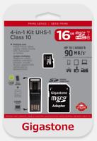 Gigastone GS-4IN1600X-16G Prime Series 16GB MICRO SD CARD 4-IN-1 KIT 90 MB/S