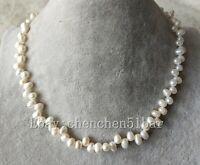 schöne kultivierte 7-8mm weiße barocke Süßwasser Perlenkette 17 Zoll