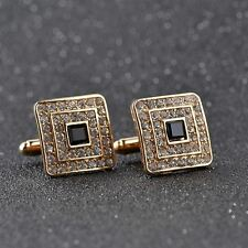 Gold Black Gem Crystal Shirt Cufflinks Groom Mens Womens Cuff Links Gift C48