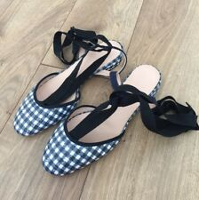 JCrew $138 Gingham Ankle-Wrap Flats 6 Navy White Sequin G0918 Shoes NEW