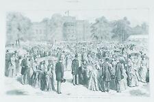 OLD ANTIQUE PRINT LONDON GARDEN PARTY BUCKINGHAM PALACE QUEEN VICTORIA c1887