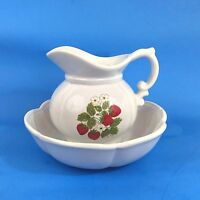 """Vintage McCoy Small White Pitcher and Bowl Set Floral Strawberries 5"""" 7528 USA"""