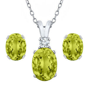 4 Ct Oval Cut Peridaot Bridal Earring & Pendant Necklace Set 10k White Gold Fn