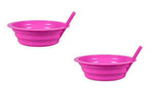 2 Pack Pink Sip-A-Bowls Cereal Ice Cream Bowl with BUILT-IN STRAW Kids BPA-FREE