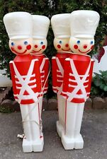 4 CHRISTMAS SOLDIER BLOW MOLD NUTCRACKERS OUTDOOR LAWN LIGHTS ORNAMENT UNION Vtg
