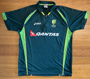 Cricket Australia Players Training Shirt asics Qantas Polo Top - Size L