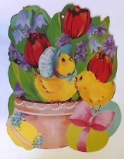 Vintage Easter/Spring Chicks In Flower Pot Die Cut Out Decoration