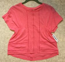 New Old Navy Miss Size 8 Cotton Knit top Cap Sleeves Side Ruching Asymmetric hem