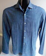 PENGUIN LS Button Front Shirt Heritage Slim Fit Blue SZ 16 34/35 Cotton