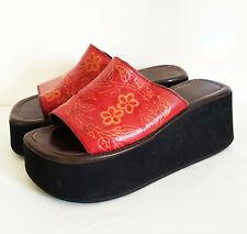 Vintage 70's Platform Shoe Sandal Tooled Leather Hippie Flowers Flip Flop sz 7
