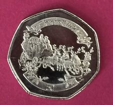 2008 Gibraltar Christmas Coin 50p Fifty Pence Coin UNC Coach And Reindeers