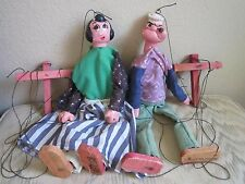 Popeye and Olive Oyl Vintage String Puppet Marionette Chalkware Wood Mexico