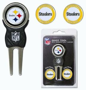 Pittsburgh Steelers Golf Divot Tool with 3 Markers [NEW] NFL Golfing Marker Chip
