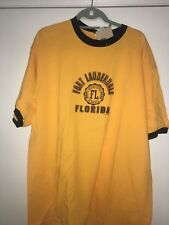 New Fort Lauderdale t shirt Florida XL made in USA Yellow/Navy -NWT