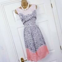 Laura Ashley Dress size 12 Silk Peach Brown Chain Floral Print Fit & Flare Party