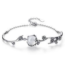 Retro 925 Sterling Silver Bracelet Opal Flower Style Women Fashion Jewelry