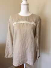 J.CREW TALL EMBROIDERED LINEN TOP Size 2T Flax Beige F2657 $110 Blouse