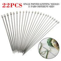 22pcs/Set Stainless Single Pointed Sewing Knitting Needles Tool Kit 2-8mm 35cm